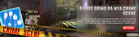 5 free spins på Crime Scene hos Unibet