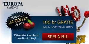 100 kr gratis Europa Casino