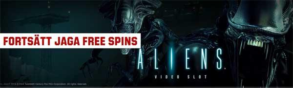 Jaga freespins på Aliens hos Unibet