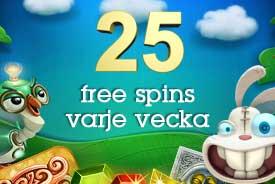 25 snurr varje vecka CasinoFloor