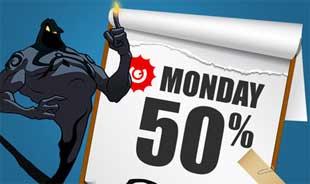 Guts 50 % bonus måndag