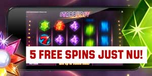 5 spins i mobilen på Starburst