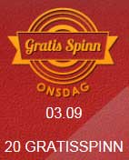 Gratis spinn onsdag 3 september