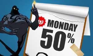 50 % måndagsbonus hos Guts