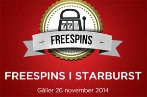 Freespins i Starburst 26 november