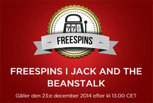 Freespins i Jack and the Beanstalk 23 december