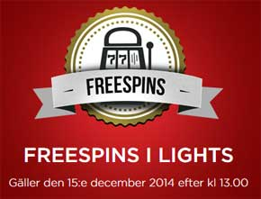 Freespins på Lights 15 december 2014