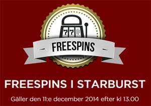 Freespins i Starburst den 11 december