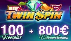 100 spins + 800 euro