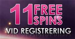 11 freespins vid registrering