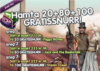20+80+100 gratissnurr SteamTower