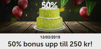 50 % bonus upp till 250 kr hos ComeOn