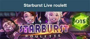 Starburst Live roulett hos Casino Saga