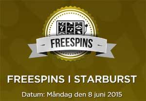 Freespins i Starburst den 8 juni