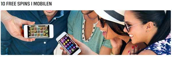 10 freespins i mobilen hos Unibet