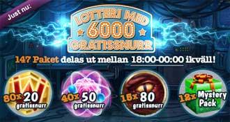 Lotteri med 6000 gratissnurr hos MamaMia
