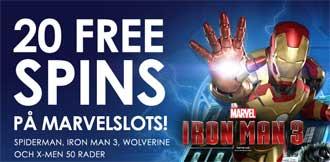 20 free spins på Marvelslots