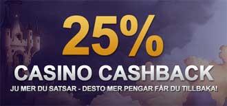 25 % casino cashback