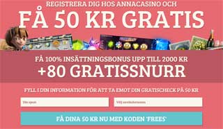 50 kr gratis hos Anna Casino