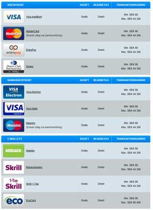 Betalningsalternativ på PlayHippo